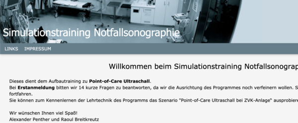 "E-Learning ""Simulationstraining Point-of-Care Ultraschall"""